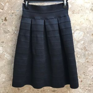 New York & Company black midi pleated skirt